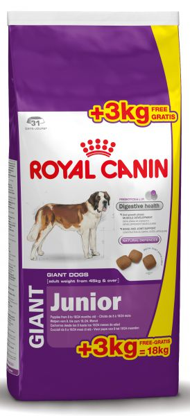 ROYAL CANIN GIANT JUNIOR HONDENVOER #95;_15 KG + 3 KG GRATIS