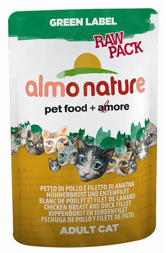 ALMO NATURE CAT GREEN LABEL KIPFILET/EENDFILET KATTENVOER #95;_55 GR