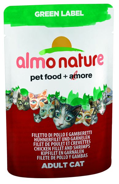 ALMO NATURE CAT GREEN LABEL KIPFILET/GARNALEN KATTENVOER #95;_55 GR