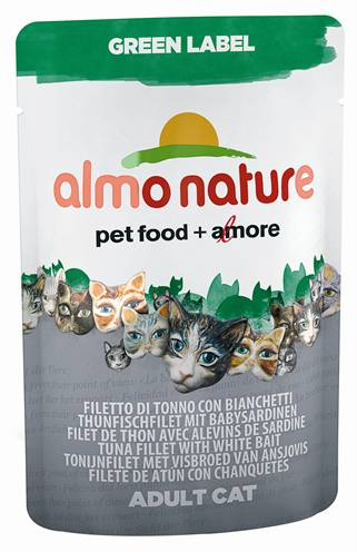 ALMO NATURE CAT GREEN LABEL TONIJNFILET/WITVIS KATTENVOER #95;_55 GR