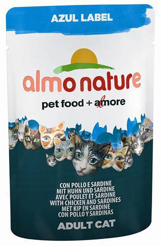 ALMO NATURE CAT AZUL LABEL KIP/SARDINES KATTENVOER #95;_70 GR