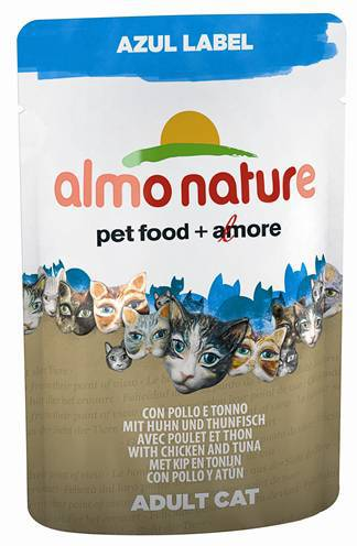 ALMO NATURE CAT AZUL LABEL KIP/TONIJN KATTENVOER #95;_70 GR