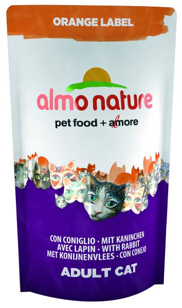 ALMO NATURE CAT DROOG ORANGE LABEL KONIJN KATTENVOER #95;_750 GR