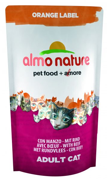 ALMO NATURE CAT DROOG ORANGE LABEL RUND KATTENVOER #95;_750 GR
