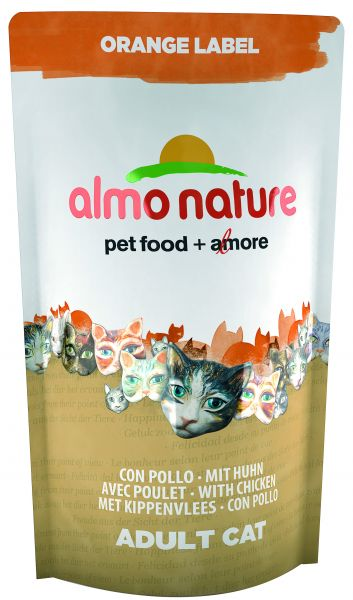 ALMO NATURE CAT DROOG ORANGE LABEL KIP KATTENVOER #95;_750 GR