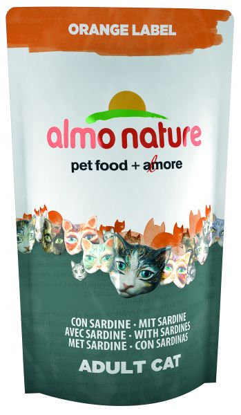ALMO NATURE CAT DROOG ORANGE LABEL SARDINES KATTENVOER #95;_750 GR