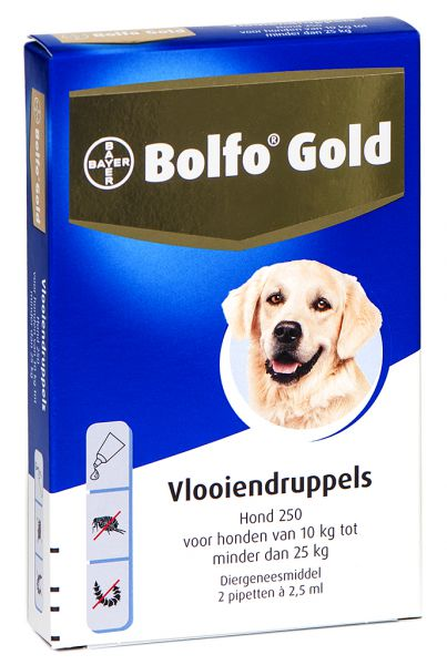 Bolfo 5_250 2 pipet gold hond vlooiendruppels